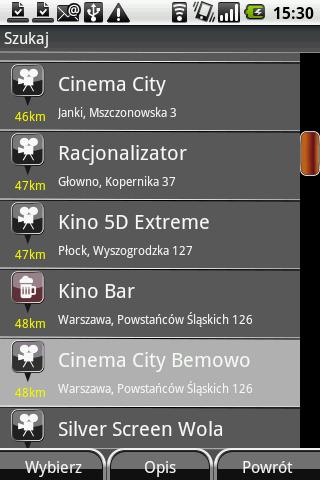Wyszukiwanie kin w NaviExpert