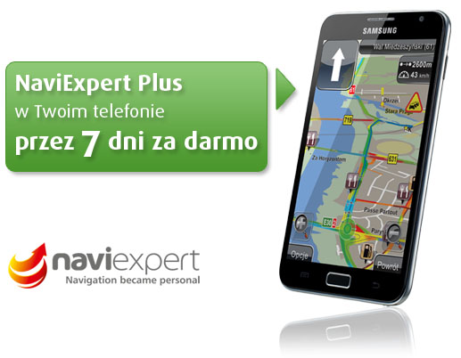 NaviExpert Plus w Twoim telefonie przez 7 dni za darmo