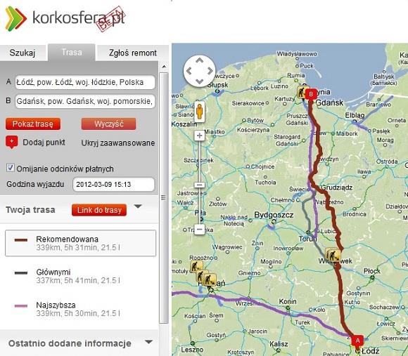 Korkosfera.pl trasa Łódź Gdańsk
