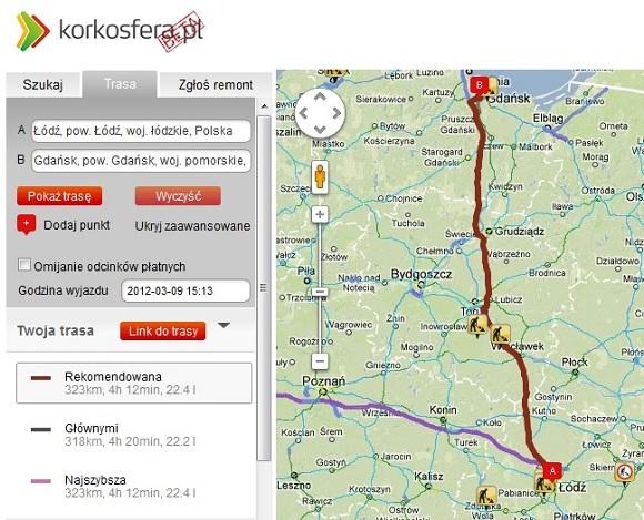 Korkosfera trasa Łódź - Gdańsk