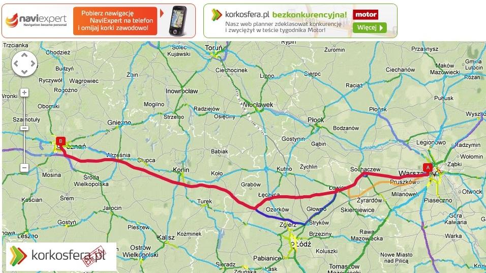 Korkosfera trasa Poznań - Warszawa