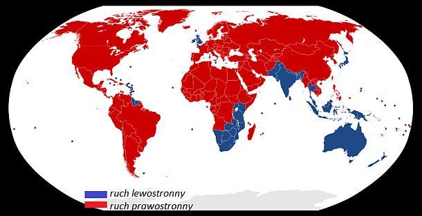 Ruch prawo i lewostronny - mapa