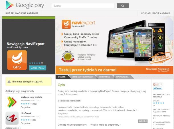 NaviExpert w Google Play