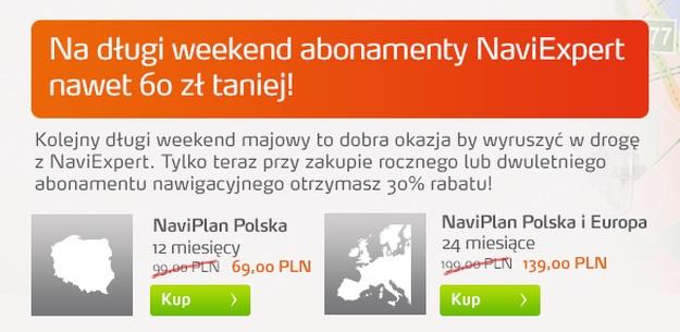 Promocja NaviExpert 60 zł taniej na długi weekend
