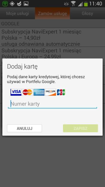 Podawanie informacji karty kredytowej