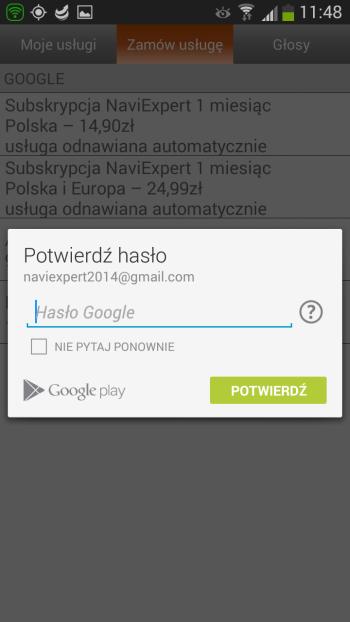 Uwierzytelnianie Google Play