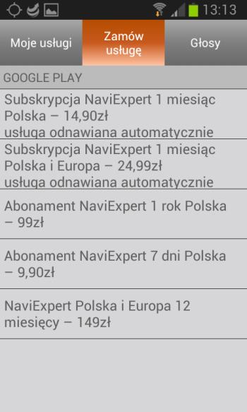 Zamawianie usług NaviExpert
