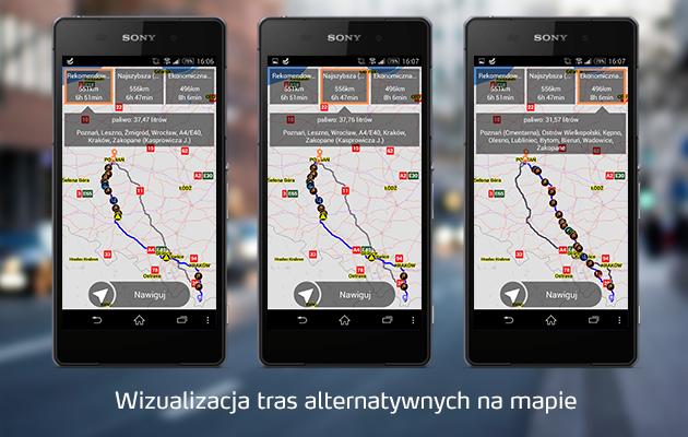 NaviExpert wizualizacja tras alternatywnych