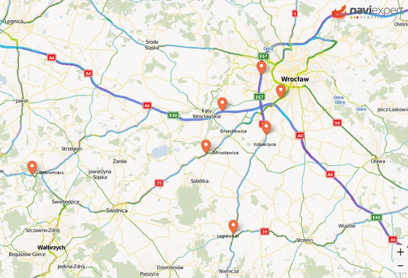 Mapa kontroli prędkości Dolny Śląsk