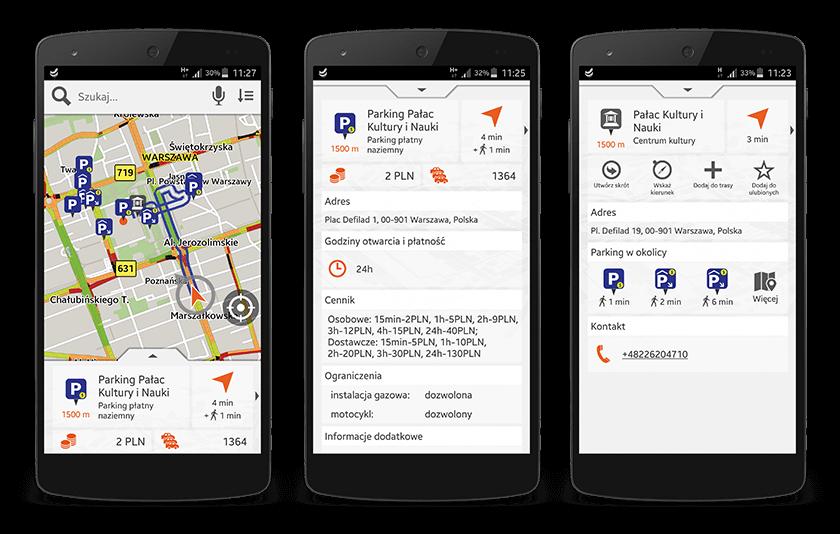 Mapa parkingów w Nawigacji Orange