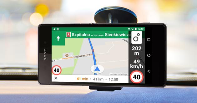 Ograniczenia prędkości i fotoradary w GoogleMaps
