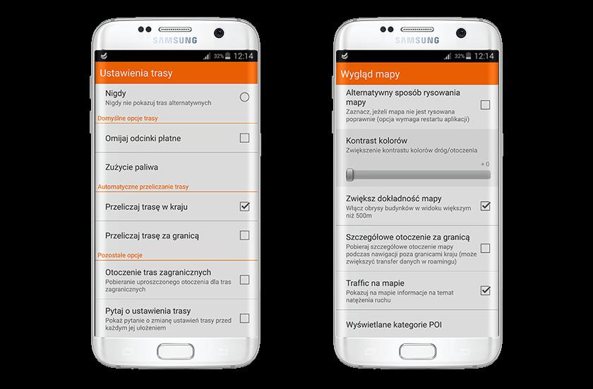 Ekran ustawień Nawigacji Orange